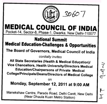 Medical Council of India invites all State Secretaries VC and Principal etc (Medical Council of India (MCI))