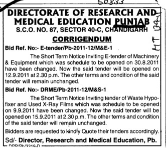 Change in the tender notice (Director Research and Medical Education DRME Punjab)