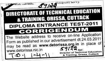 Change in the Diploma Entrance Test (Directorate of Technical Education and Training (Technical Education Board Orissa))