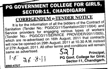 Change in Sanitation Tender (Post Graduate Government College (Sector 11))