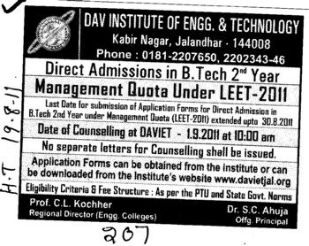 Management Seats for BTech through LEET (DAV Institute of Engineering and Technology DAVIET)