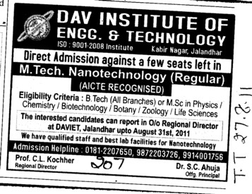 MTech in Nanotechnology (DAV Institute of Engineering and Technology DAVIET)
