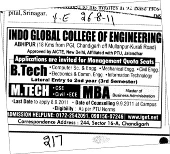 MTech BTech and MBA Course (Indo Global College of Engineering)