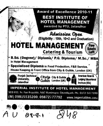 MBA MSc and PG Diploma in Hotel Management (Imperial Institute of Hotel Management)