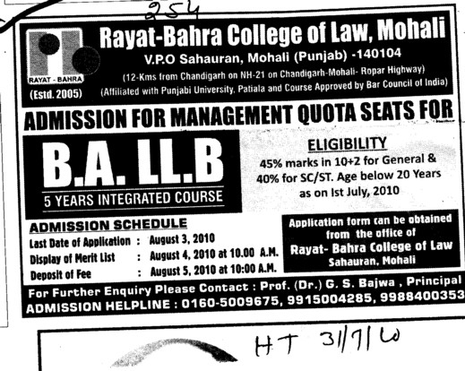 BA and LLB Course (Rayat and Bahra College of Law)