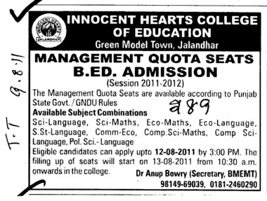Management Quota seats for BEd (Innocent Hearts College of Education)