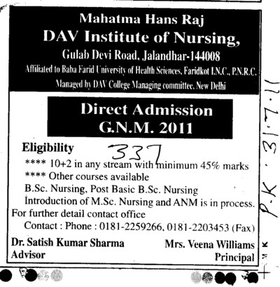 GNM Course (Mahatma Hans Raj DAV Institute of Nursing)
