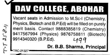 MSc and BPED Course (DAV College)