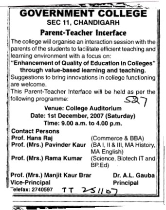 Parent Teacher interface (Post Graduate Government College (Sector 11))