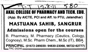 B Phramacy M Pharmacy and MSc in Pharm Chem (Akal College of Pharmacy and Technical Education)