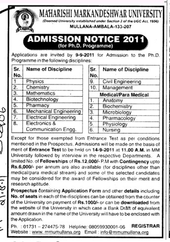 PhD in Physics Chemistry and Pharmacy etc (Maharishi Markandeshwar University)