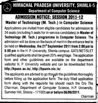 MTech in Computer Science (Himachal Pradesh University)