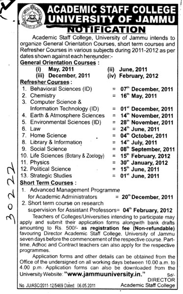 Short term course in Chemistry Computer Science and Physics etc (Jammu University)
