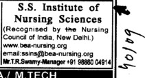 BTech and MTech Course (SS Institute of Nursing Sciences)