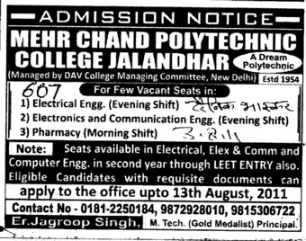 BTech in CSE ECE and Civil etc (Mehr Chand Polytechnic College)