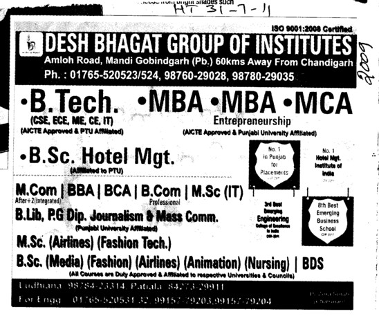 BTech MBA MCA BBA BCA MSc IT MCom and BCom etc (Desh Bhagat Group of Institutes)