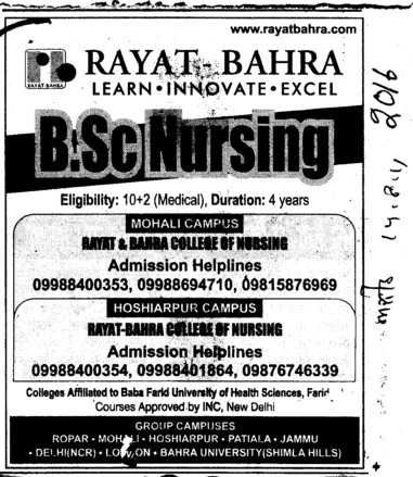 BSc Nursing Course (Rayat and Bahra Group)