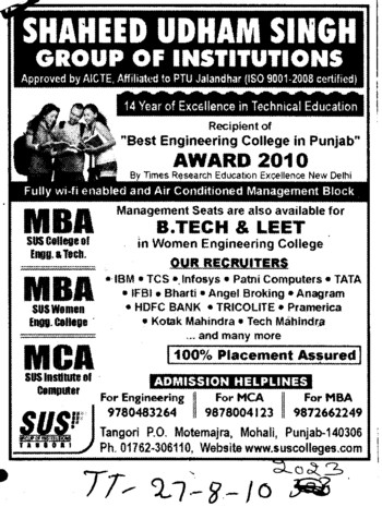MBA and MCA Course (SUS Group of Institutions)