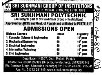Diploma in Computer Science and Civil Engineer etc (Sri Sukhmani Group of Institutes)