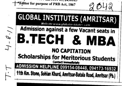 BTech and MBA Course (Global Institutes Group)