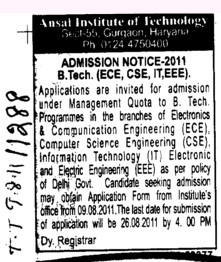 BTech in CSE ECE and Civil etc (Ansal Institute of Technology)