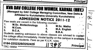 MCom BCA and MSc in Biotechnology (Kumari Vidyavati Anand DAV College for Women)