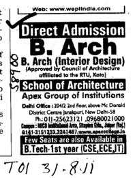 B Arch in interior Design (Apex Group of institutions)