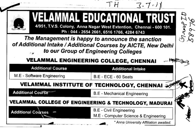BE in ECE and ME in Software Engineering (Velammal Educational Trust Group)