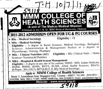 BSc MSc and MBA course (MMM College of Health Sciences)
