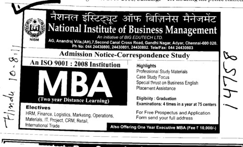 MBA Course (National Institute of Business Management (NIBM))