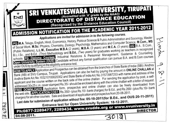 MBA MCA MCom and LLM etc (Sri Venkateswara University)