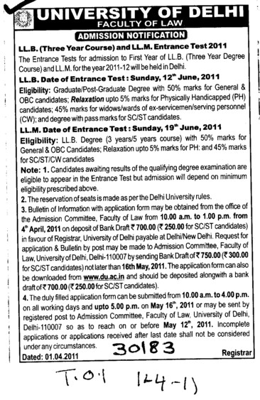 LLB and LLM Entrance Test (Delhi University)