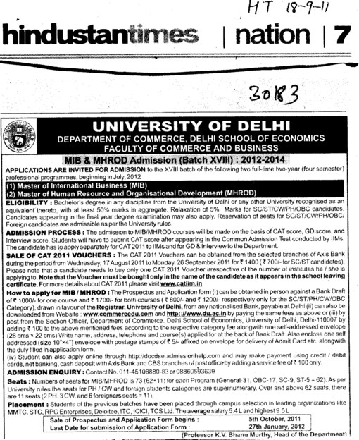 MIB and MHROD Course (Delhi University)