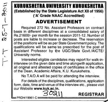 Assistant Proffessor on Contract Basis (Kurukshetra University)