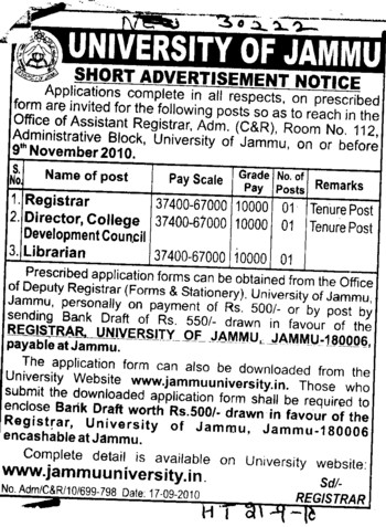 Registrar and Librarian etc (Jammu University)