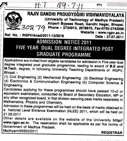 Five year Dual Degree Integrated Post Graduate Programme (Rajiv Gandhi Proudyogiki Vishwavidyalaya)