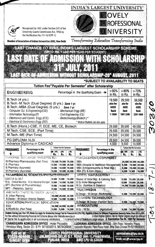 BTech and MBA Course (Lovely Professional University LPU)