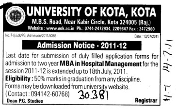 MBA in Hospital Management (University of Kota)