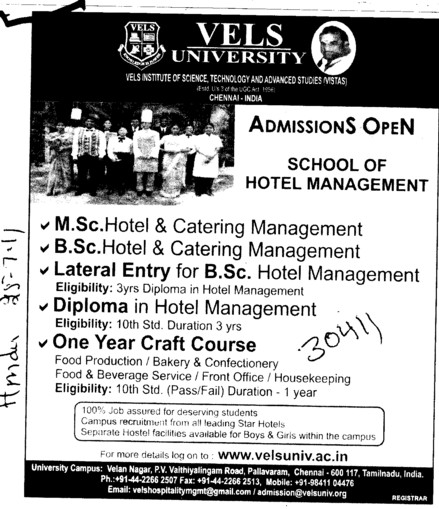 MSc BSc and One year Craft Course etc (VELS University)