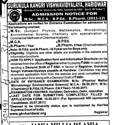 MSc MCA BPED and B Pharm etc (Gurukul Kangri Vishwavidyalaya)
