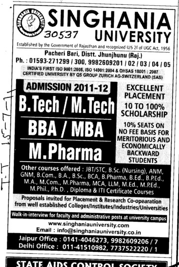 BTech MTech BBA and MBA etc (Singhania University)