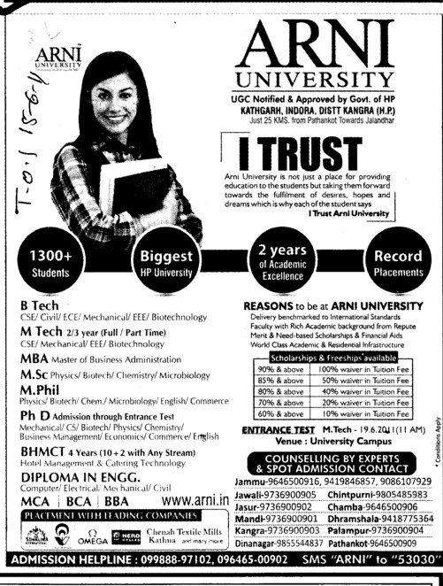 BTech MTech MBA MCA and BBA etc (Arni University Kathgarh)