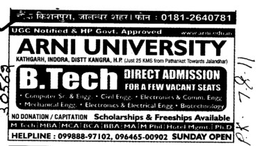 BTech Course (Arni University Kathgarh)
