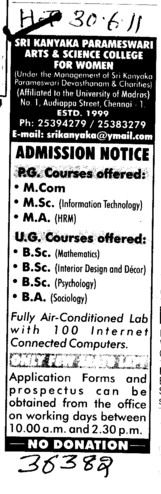 MCom MSc BSc and BA etc (Sri Kanyaka Parameswari Arts and Science College for Women)
