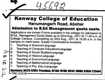 Management Quota seats for BEd (Kenway College of Education)