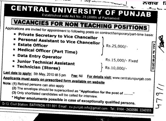 Private Secretary to VC and Estate Officer etc (Central University of Punjab)