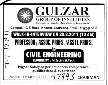 Proffessor Assistant Proffessor and Lab Assistant etc (Gulzar Group of Instituties Khanna)