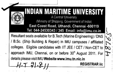 BTech and BSc Course etc (Indian Maritime University)