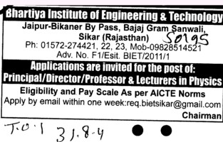 Principal Director Proffessor and Lecturers etc (Bhartiya Institute of Engineering and Technology)