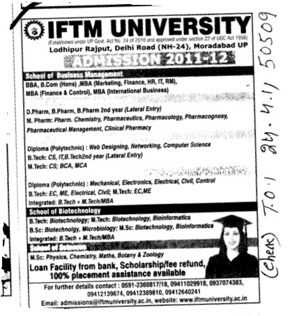 BBA MBA BCom and MTech etc (IFTM University)